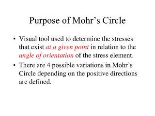Purpose of Mohr s Circle