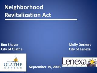 Neighborhood  Revitalization Act