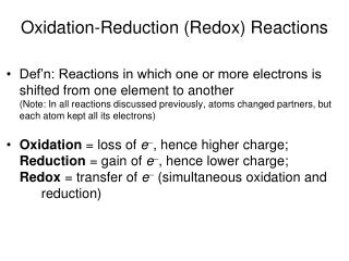 Oxidation-Reduction Redox Reactions