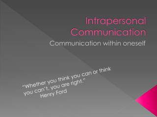 Intrapersonal Communication Examples