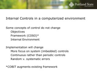 Internal Controls in a computerized environment