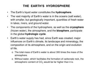 THE  EARTH S  HYDROSPHERE