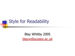 Style for Readability