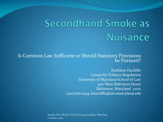 Secondhand Smoke as Nuisance