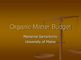 Organic Matter Budget