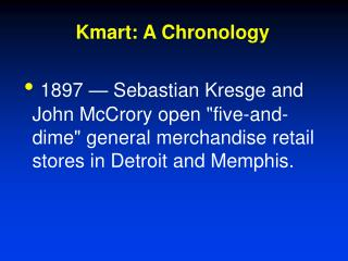 Kmart: A Chronology