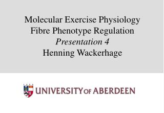 Molecular Exercise Physiology Fibre Phenotype Regulation  Presentation 4 Henning Wackerhage