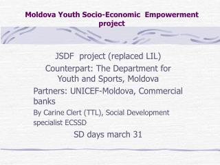 Moldova Youth Socio-Economic  Empowerment  project