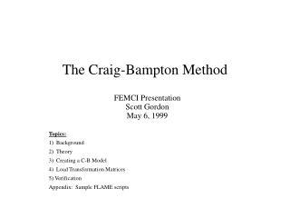 The Craig-Bampton Method