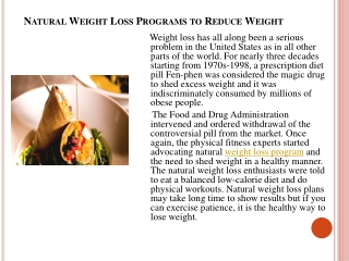 natural weight loss programs  to reduce weight