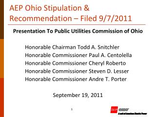 AEP Ohio Stipulation  Recommendation   Filed 9