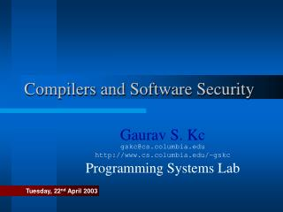 Compilers and Software Security