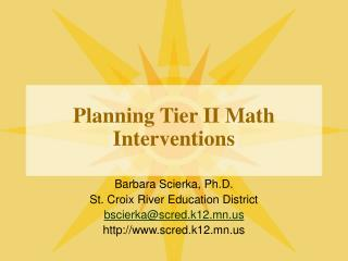 Planning Tier II Math Interventions