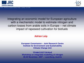 Integrating an economic model for European agriculture with a mechanistic model to estimate nitrogen and carbon losses f