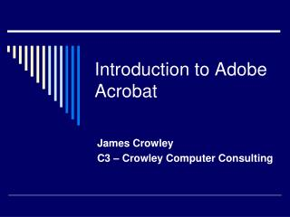 Introduction to Adobe Acrobat