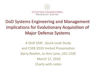 DoD Systems Engineering and Management Implications for Evolutionary Acquisition of  Major Defense Systems
