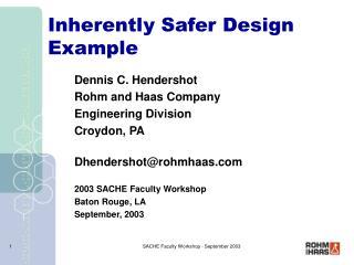 Inherently Safer Design Example