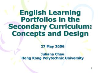 English Learning Portfolios in the Secondary Curriculum: Concepts and Design
