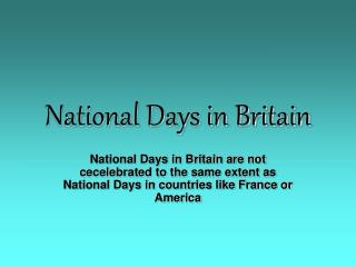 National Days in Britain