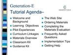 Generation-E  Tutorial Agenda
