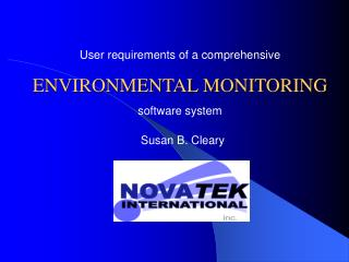 User requirements of a comprehensive ENVIRONMENTAL MONITORING  software system