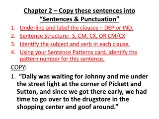 Chapter 2   Copy these sentences into  Sentences  Punctuation