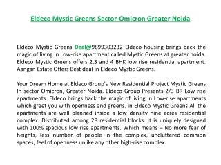 Eldeco Mystic Greens Deal@9899303232, Eldeco Mystic Noida