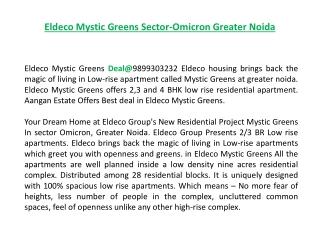 Eldeco Mystic Greens Deal@9899303232, Eldeco Mystic Noida