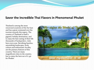 Savor the Incredible Thai Flavors in Phenomenal Phuket