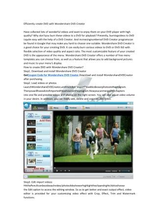 Efficiently create DVD with Wondershare DVD Creator