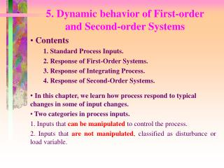 5. Dynamic behavior of First-order  and Second-order Systems