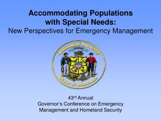 43rd Annual Governor s Conference on Emergency   Management and Homeland Security
