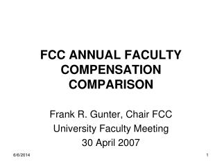 FCC ANNUAL FACULTY COMPENSATION COMPARISON