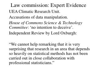 Law commission: Expert Evidence