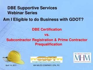 DBE Supportive Services  Webinar Series