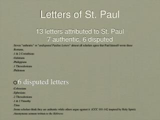Letters of St. Paul