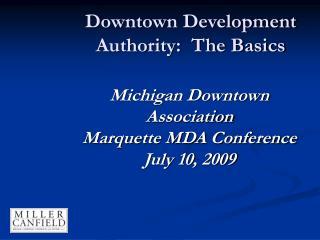 Downtown Development Authority:  The Basics
