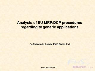 Analysis of EU MRP