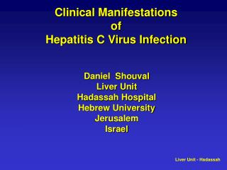 Clinical Manifestations  of  Hepatitis C Virus Infection