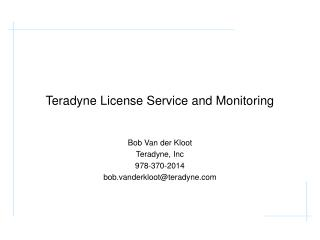 Teradyne License Service and Monitoring