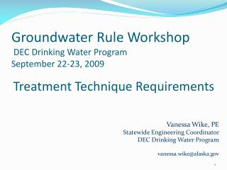 Groundwater Rule Workshop  DEC Drinking Water Program September 22-23, 2009