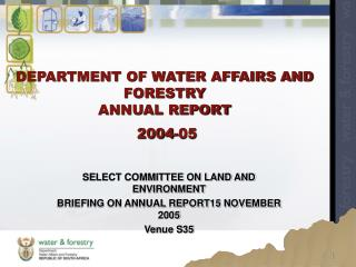 DEPARTMENT OF WATER AFFAIRS AND FORESTRY ANNUAL REPORT  2004-05