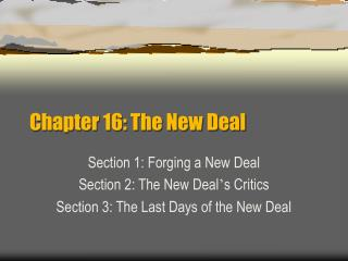 Chapter 16: The New Deal