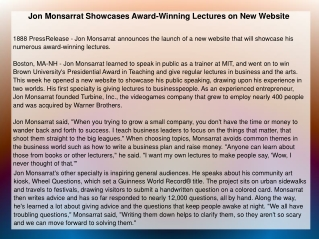 Jon Monsarrat Showcases Award-Winning Lectures on New Websit