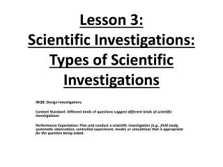 Lesson 3:  Scientific Investigations: Types of Scientific Investigations