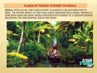 Places of tourist interest in kerala
