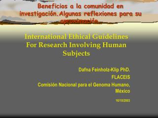 Beneficios a la comunidad en investigaci n.Algunas reflexiones para su aproximaci n.