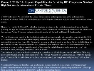 cantor & webb p.a. expands capabilities for servicing irs co