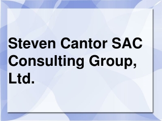 Steven Cantor SAC Consulting Group, Ltd.