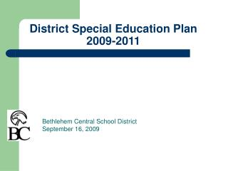 District Special Education Plan 2009-2011